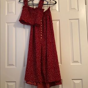 Maroon with Polka Dots Two Piece Skirt/Tank Set